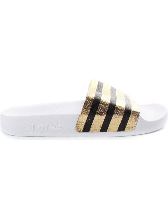 0957f89cd535 Adidas Adilette 3 Women s Stripe Slides Gold