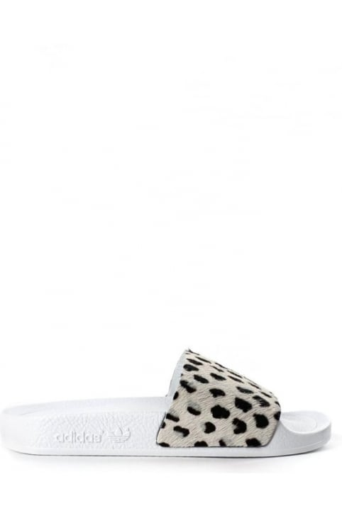 Adilette Unisex Animal Print Sliders Off White
