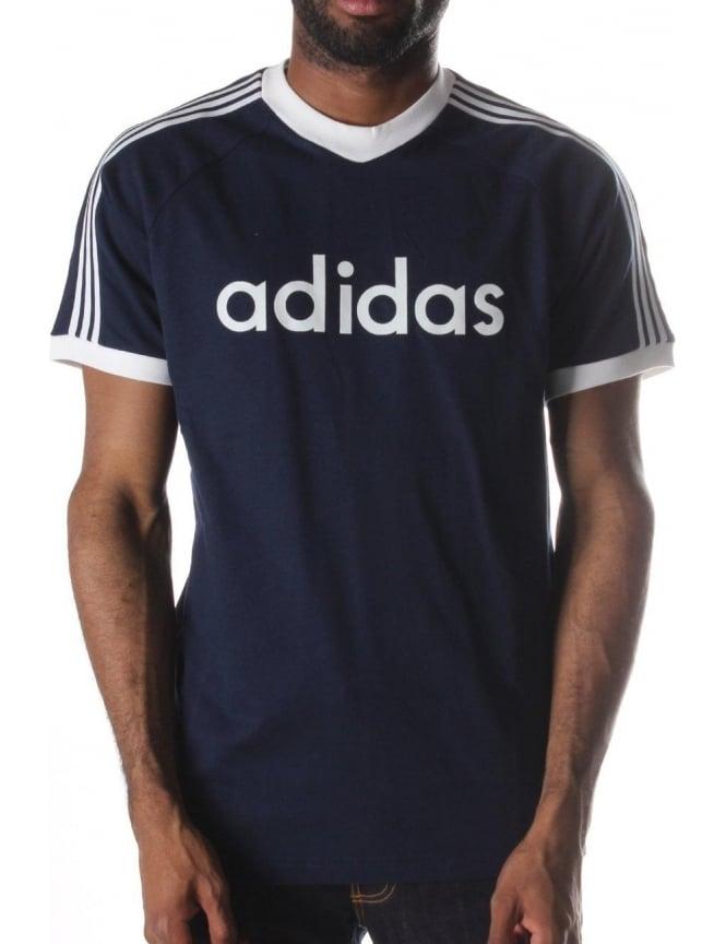 BCKB Flock Logo Print 3 Stripe Men's T Shirt Navy