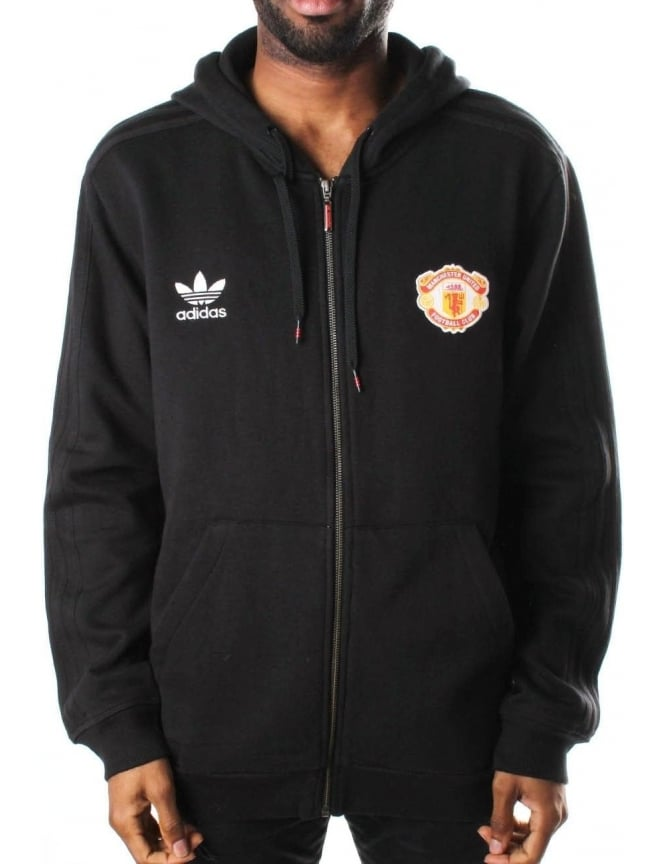 Adidas Manchester United Football Club Zip Through Hooded Seat Top Black