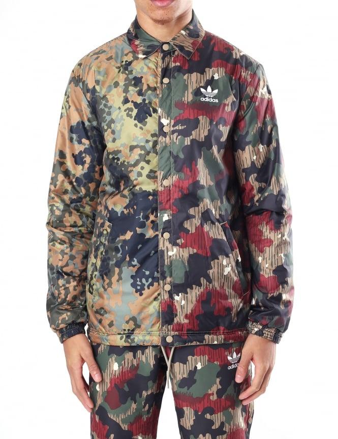 6621df5b5093f Adidas Men s Pharrell Williams HU Hiking Camo Reversible Coach Jacket