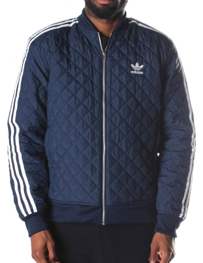 Quilted Superstar Zip Through Men's Jacket Navy