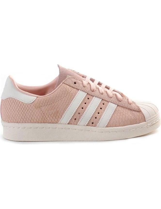 Adidas Superstar 3 Stripe Women s Lace Up Trainer Pale Pink 732ceab68
