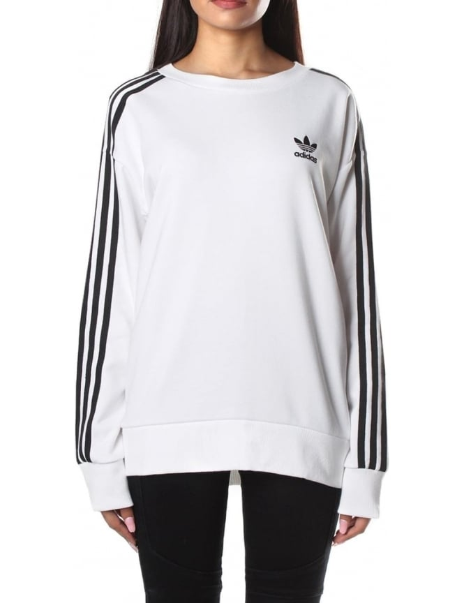 Adidas Women s 3-Stripes A-Line Sweatshirt White a0900daf7132