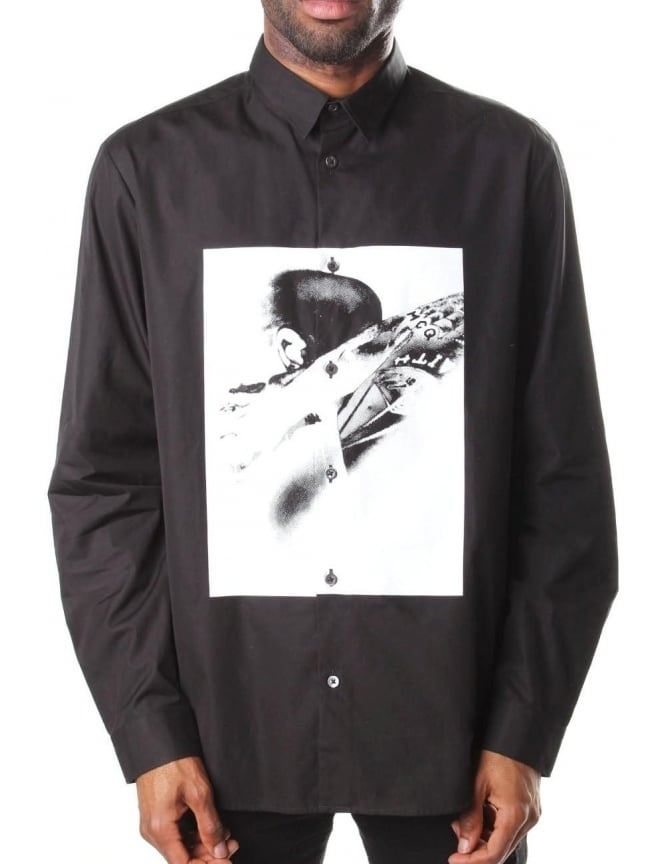 McQ by Alexander McQueen Graphic Print Men's Long Sleeve Shirt Black