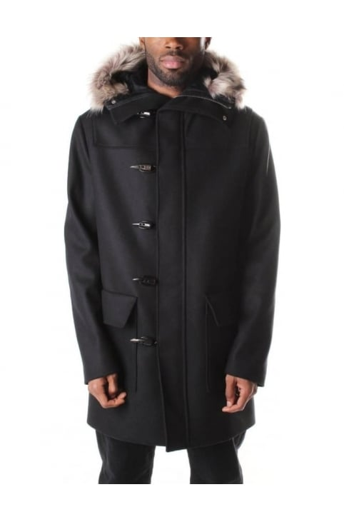 Men's Duffle Parka Coat Darkest Black