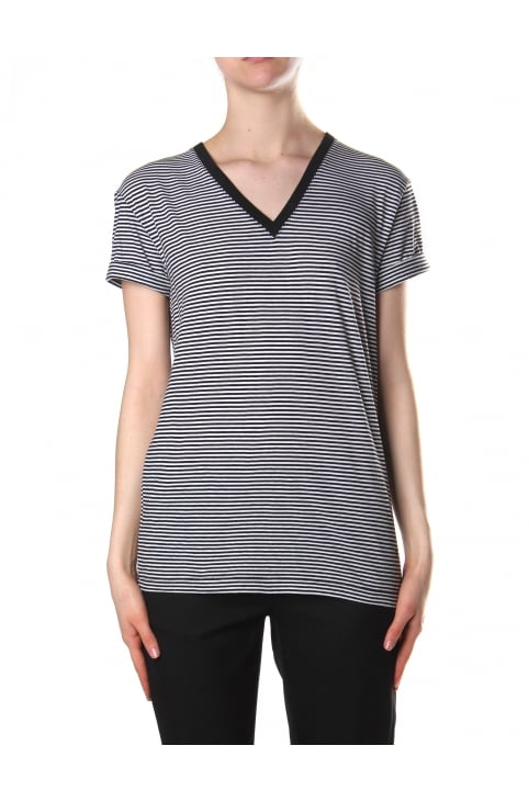 Women's Stripe Cotton Jersey Short Sleeve V Neck Tee Black and White