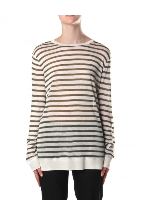 Women's Stripe Long Sleeve Tee Cream And Military