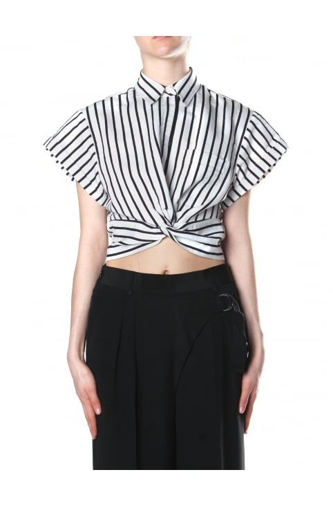 Women's Striped Cotton Twist Front Crop Short Sleeve Shirt Black And White