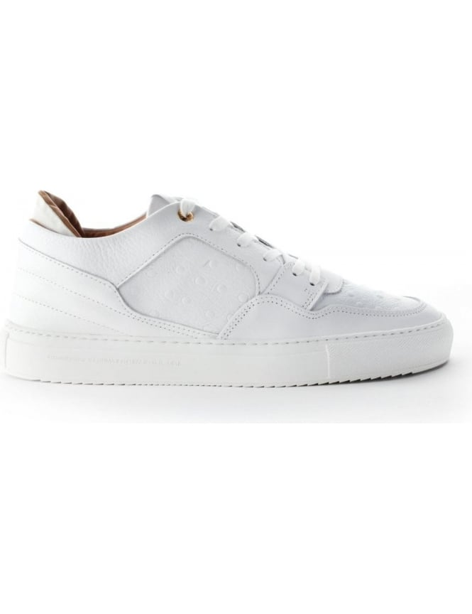 cd4ef8b07fb6 Android Homme Omega Men s Low Ostrich Leather Trainer White