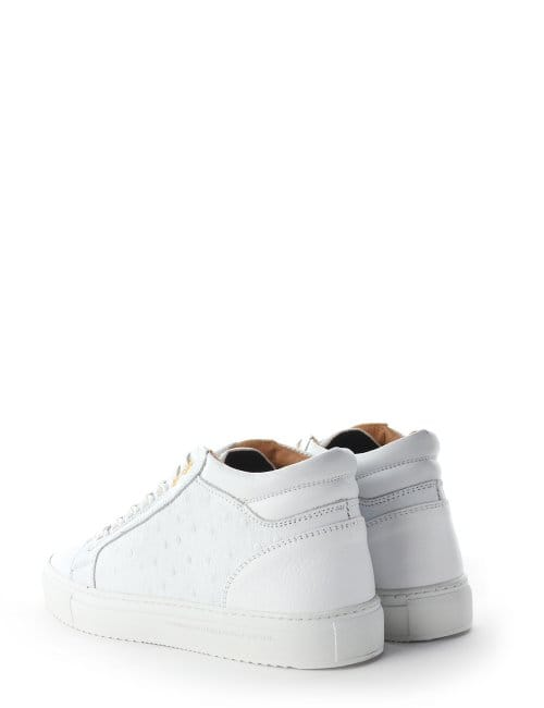 0fd16742ec5f Android Homme Propulsion Men s Ostrich Leather Mid Trainer White