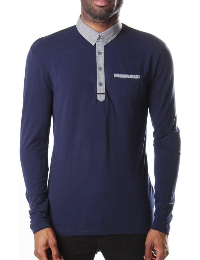 Slim Fit Pocket Detail Men's Long Sleeve Polo Top Marine