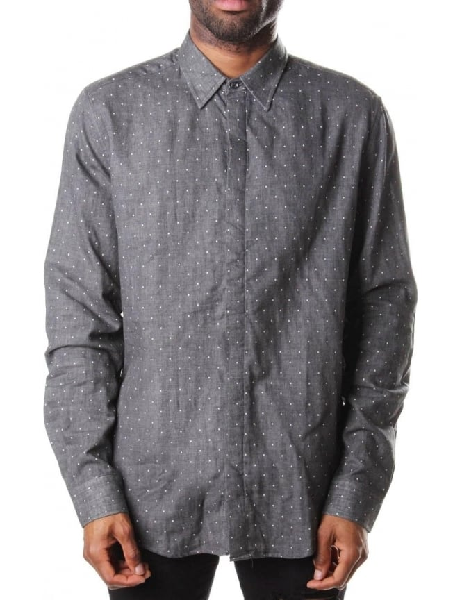 Slim Fit Polkadot Men's Long Sleeve Shirt Grey