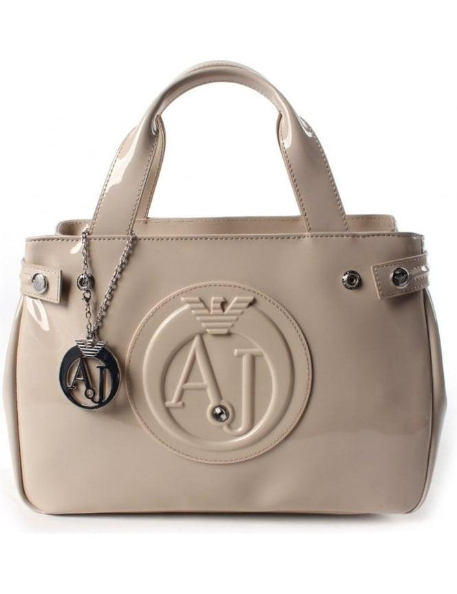 Armani Jeans 0529B Women s  AJ  Logo Patent Hand Bag Beige 90f896dd797cc