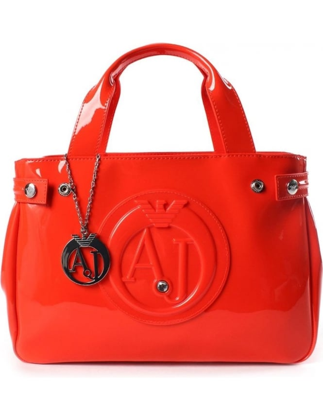 55a7131aa Armani Jeans 0529B Women's 'AJ' Logo Patent Hand Bag Orange