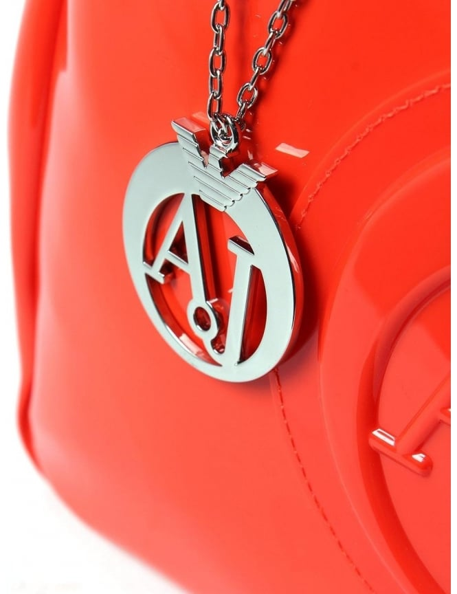 Armani Jeans 0529B Women s  AJ  Logo Patent Hand Bag Orange d6e2da26259fd