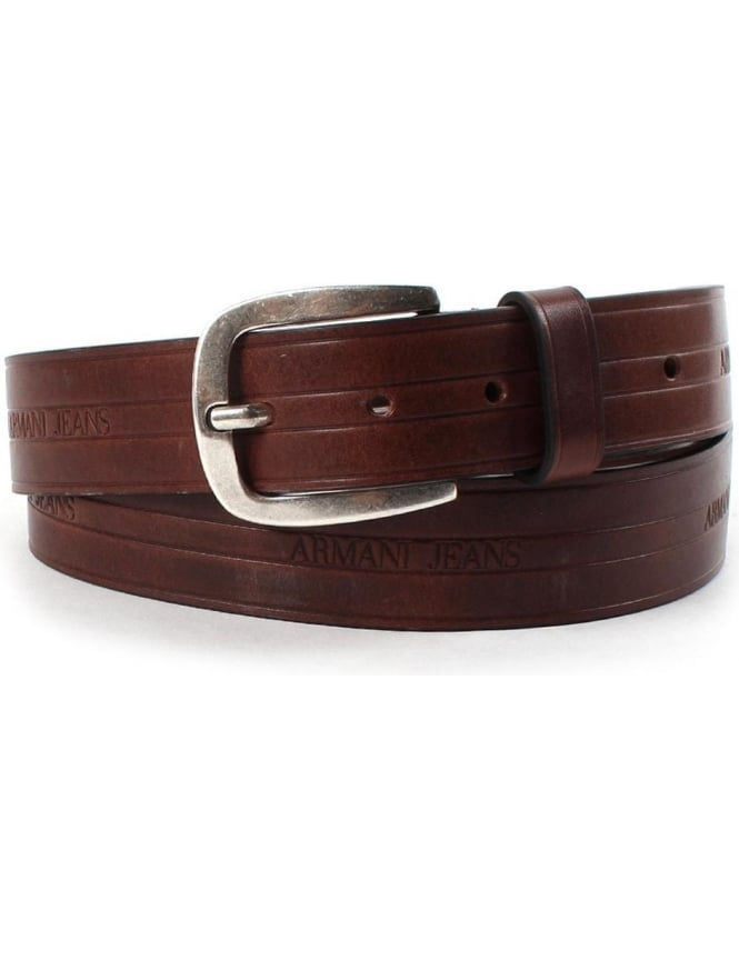 Armani Jeans 06120 Men's Embossed Logo Leather Belt Brown