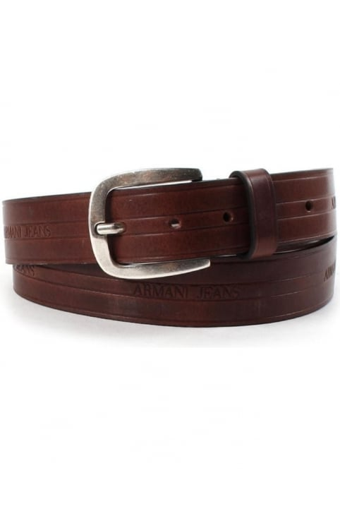 06120 Men's Embossed Logo Leather Belt Brown