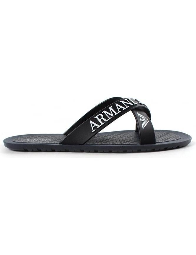 13ce9a20b Armani Jeans 06597 Men s Logo Crossover Flip Flop Blue