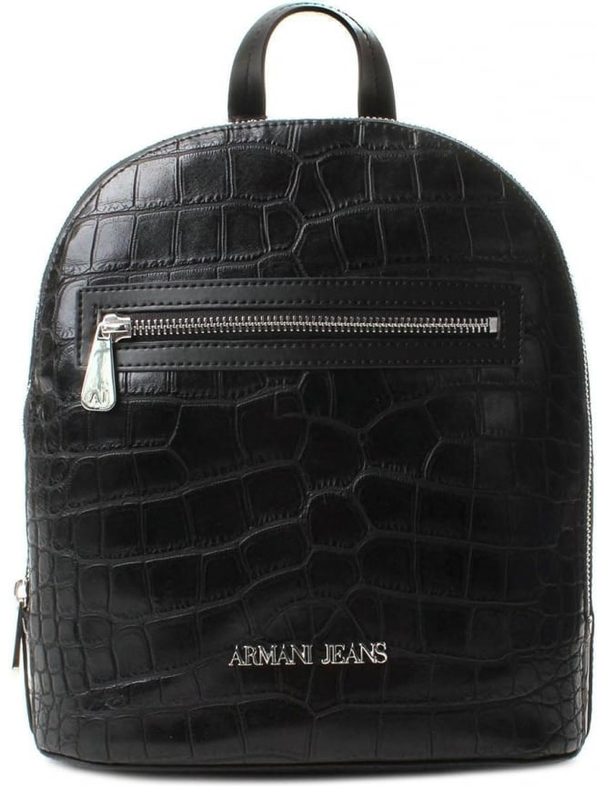 Armani Jeans 922147 Women's Reptile Look Mini Backpack Black