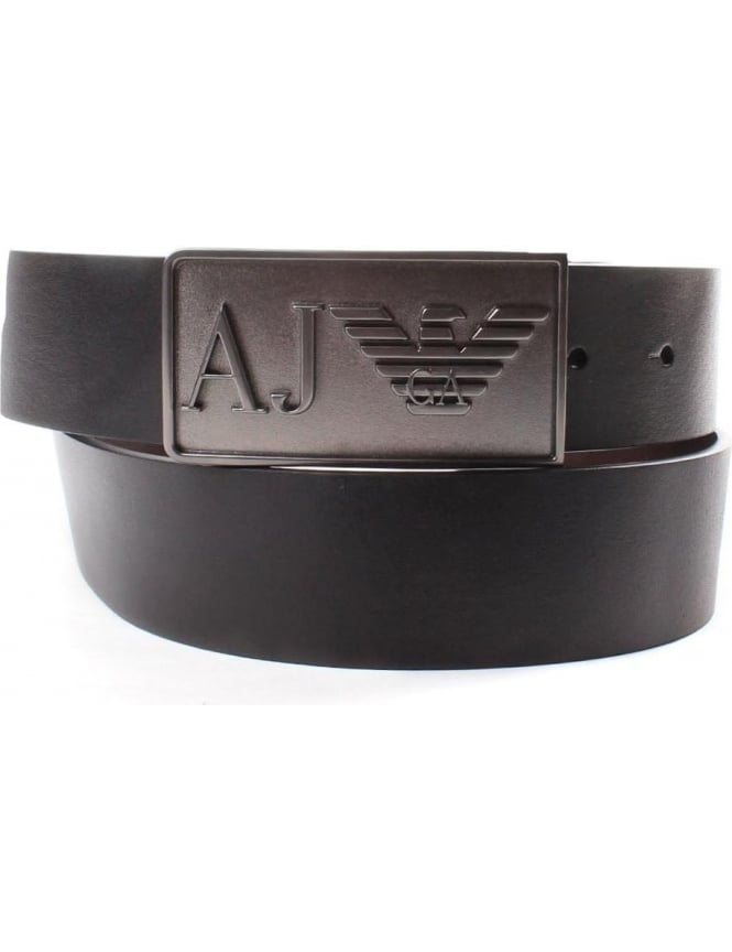 Armani Jeans 931501 Men's 'AJ' Eagle Buckle Belt Black