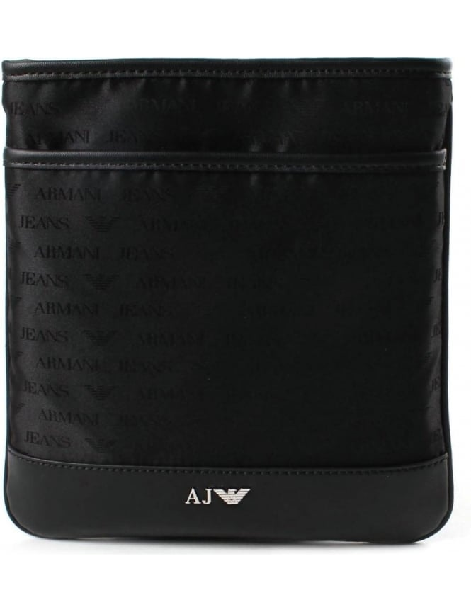 Armani Jeans 932527 Men s Repeat Logo Crossbody Bag Black 8ce9284a76ee3