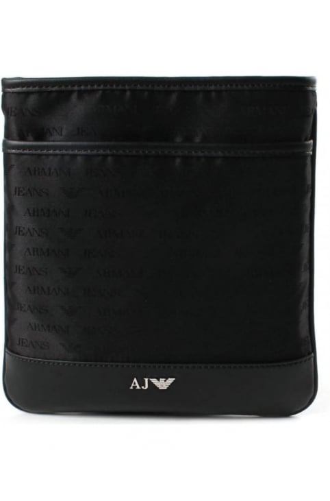 932527 Men's Repeat Logo Crossbody Bag Black