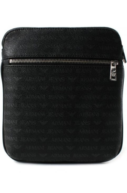 932534 Men's Repeat Logo Crossbody Bag Black