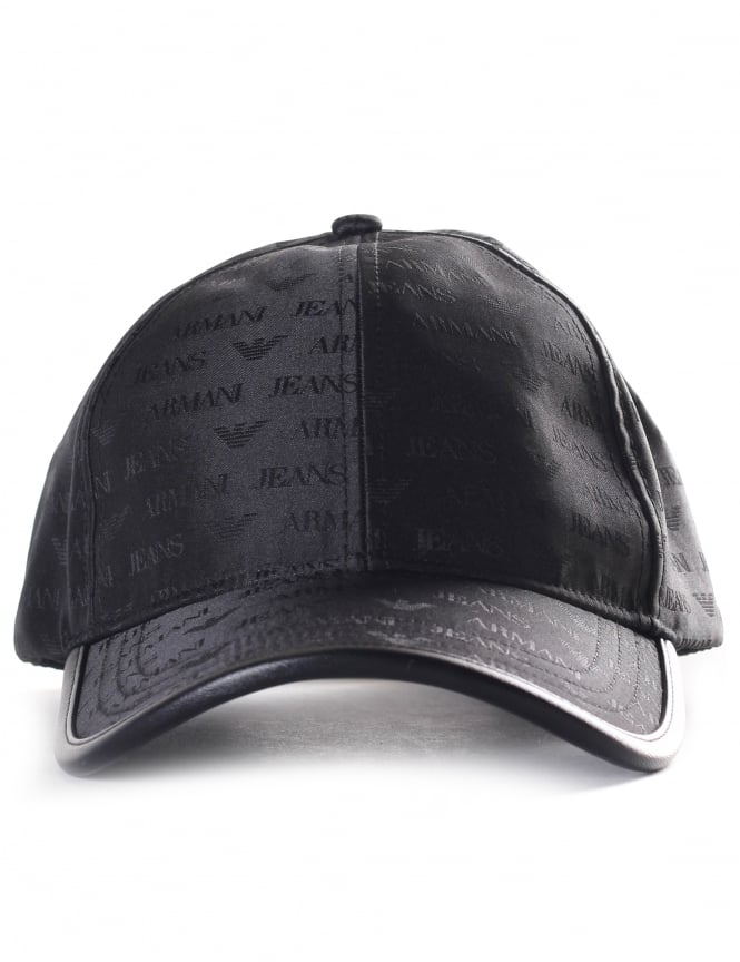 Armani Jeans 934500 Men's Repeat Logo Baseball Cap Black