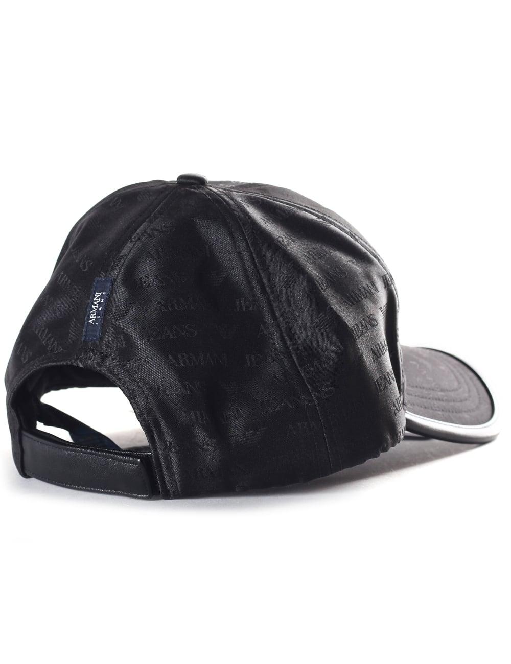 Armani Jeans 934500 Men s Repeat Logo Baseball Cap Black ee575d8eebf