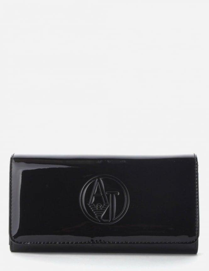 official site outlet on sale retail prices Armani Jeans 'AJ' Circle Logo Women's Patent Clutch Purse Black