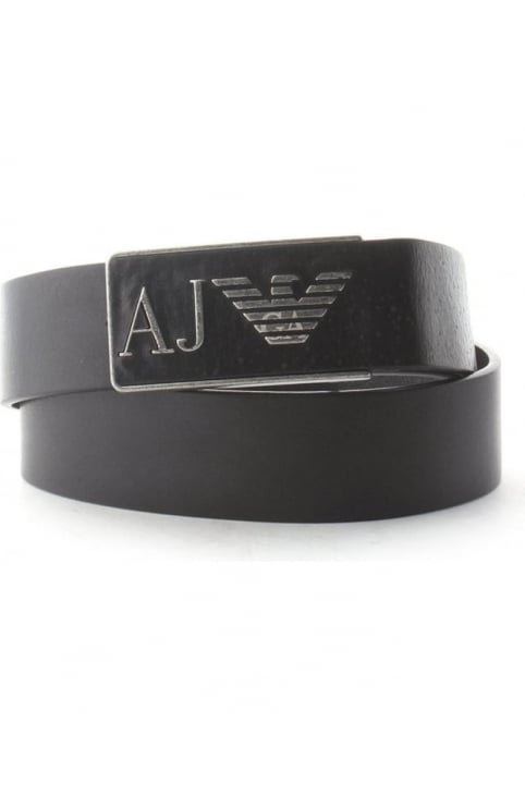 'AJ' Eagle Logo Buckle Men's Belt