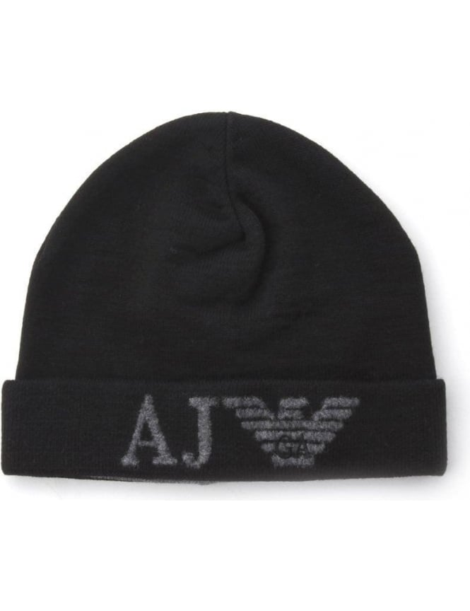 AJ Eagle Logo Men s Knitted Beanie Black 7bc5be623de