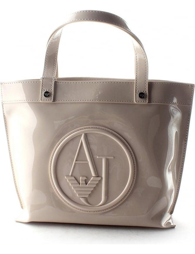 'AJ' Logo Patent Women's Shopper Bag Beige 9877c727bd25