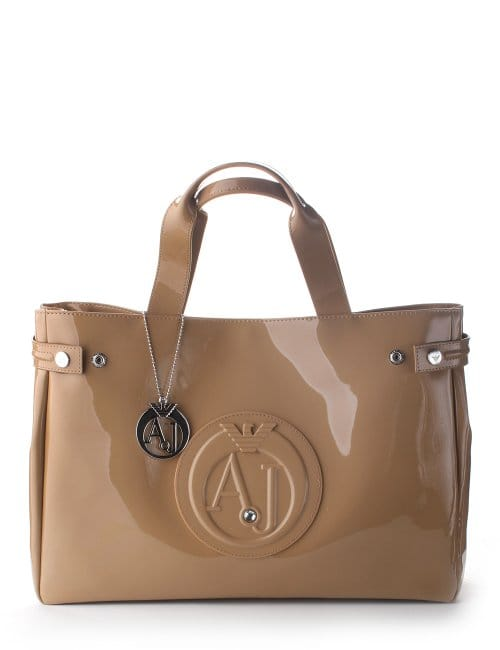 3c48001c4653  AJ  Logo Patent Women s Shopper Bag Camel