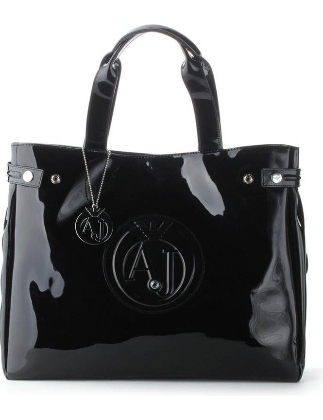 62d3868115 Armani Jeans 'AJ' Logo Women's Patent Shopper Bag Black