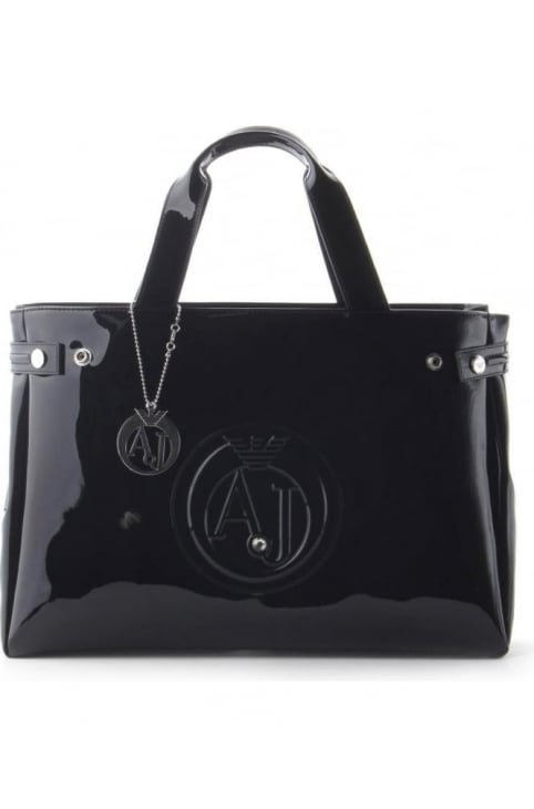 'AJ' Logo Women's Patent Shopper Bag Black