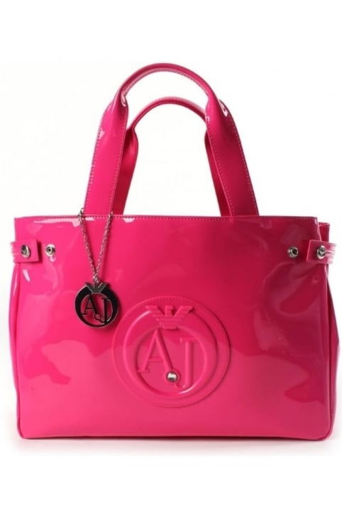 'AJ' Logo Women's Patent Shopper Bag Fuchsia
