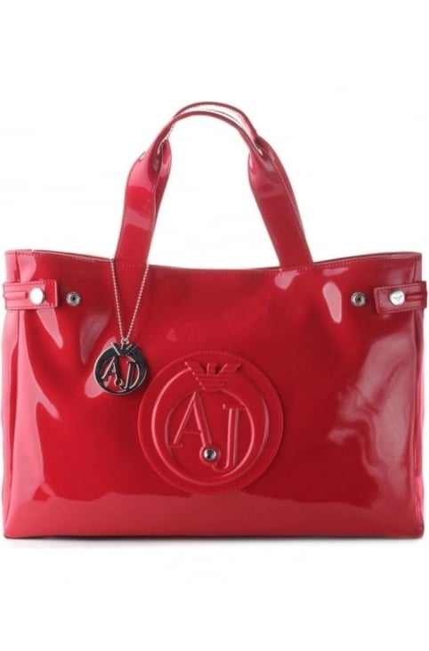 'AJ' Logo Women's Patent Shopper Bag Red