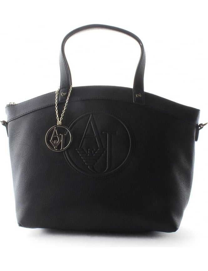 e29466e634a6  AJ  Logo Women s Shopper Bag Black
