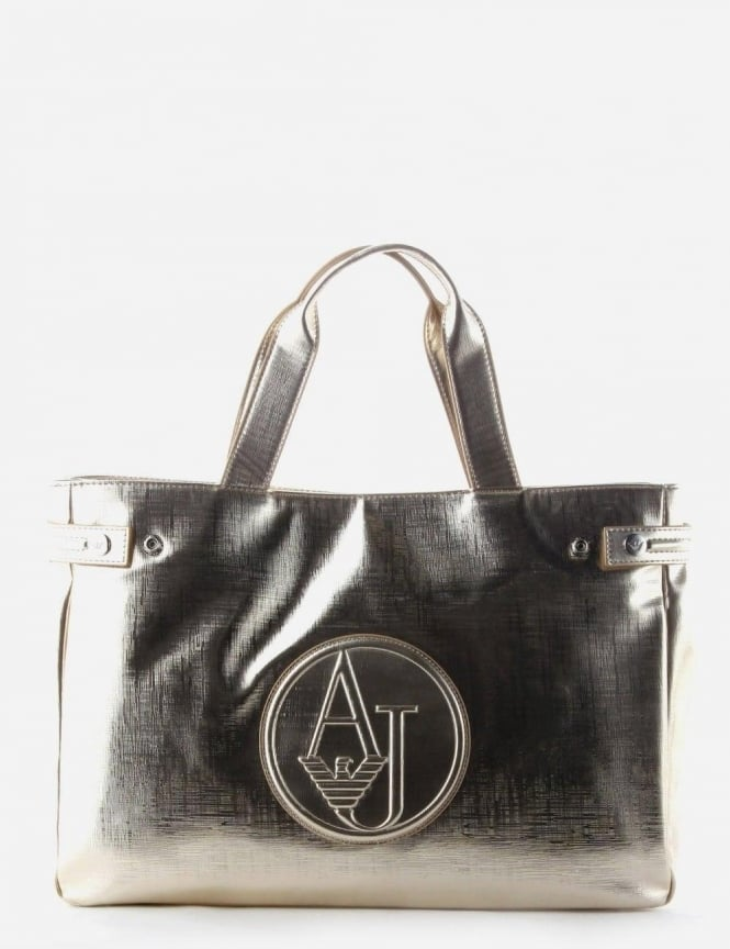 a447f88dc5da Armani Jeans  AJ  Logo Women s Shopper Bag Gold