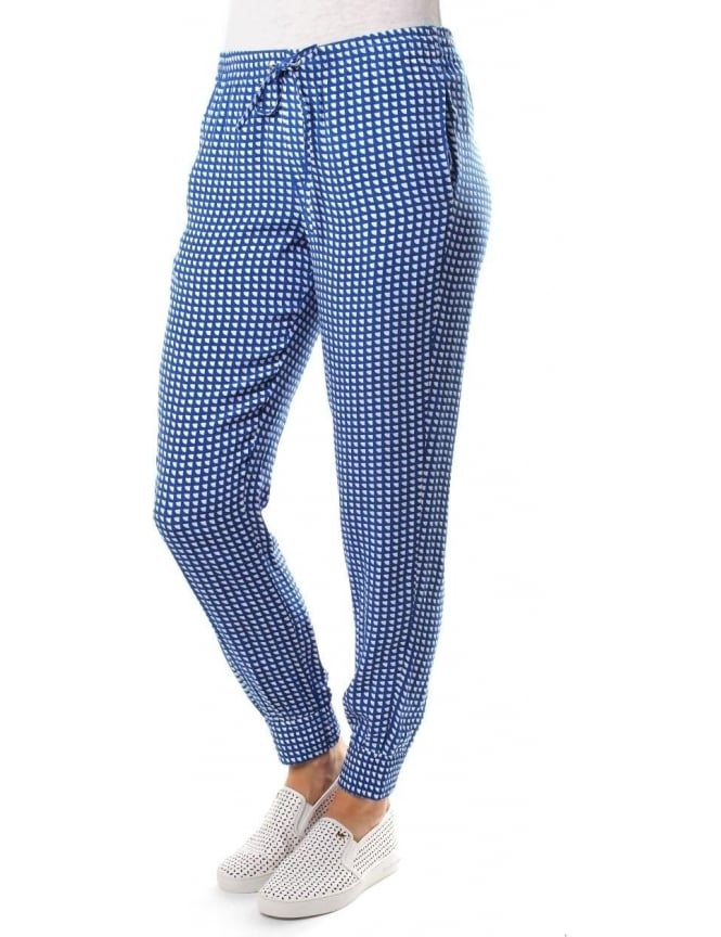 Armani Jeans All Over Pattern Women's Tie Waist Trousers Blue