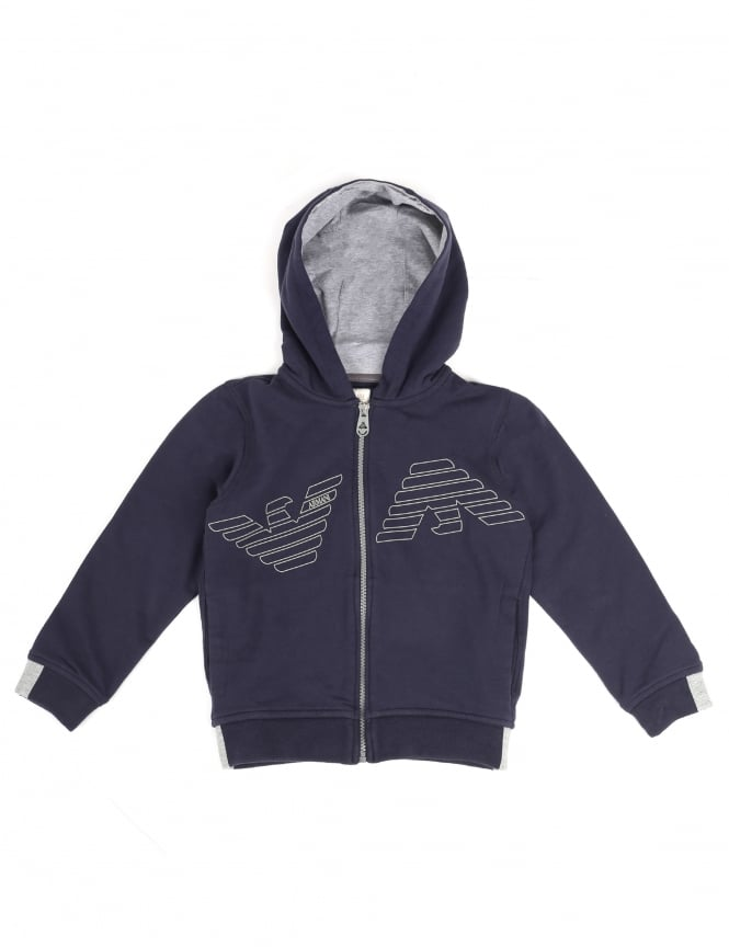 Armani Jeans Boys Zip Through Hooded Sweat Top