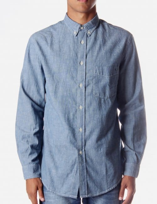 Armani jeans button up men 39 s shirt denim for Jean button up shirt mens