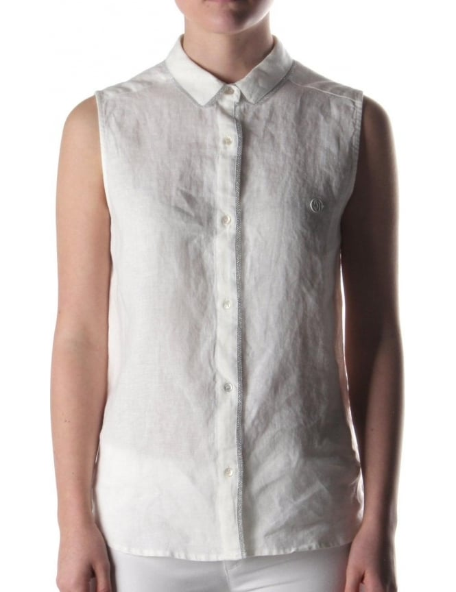 Armani jeans collar trim women 39 s sleeveless shirt white for Sleeveless white shirt with collar