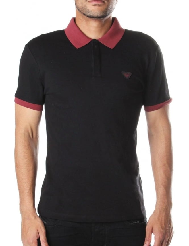 Armani Jeans Contrast Collar Men's Short Sleeve Polo Top