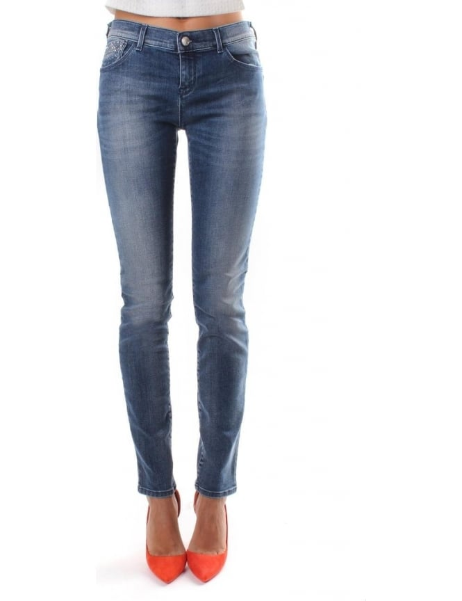 Armani Jeans Diamante Detail Pocket Women's Denim Jeans
