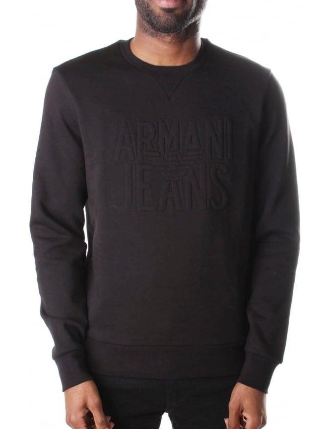 Armani Jeans Embossed Logo Men s Crew Neck Sweat Black 709e2ac62