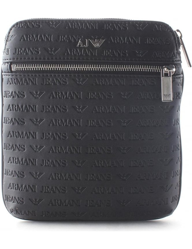 81b457f0db2b Armani Jeans Embossed Men s Logo Messenger Bag Black