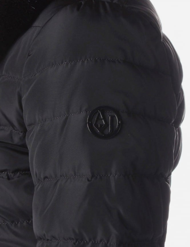 9a47aff9d Armani Jeans Fur Collar Women's Padded Jacket Black